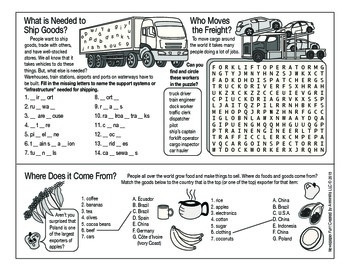 Shipping and Moving Goods Around the World Two-Page Activity Set