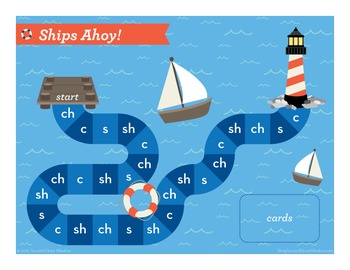Ships Ahoy! Beginning Digraphs Phonics Game - Words Their Way Game