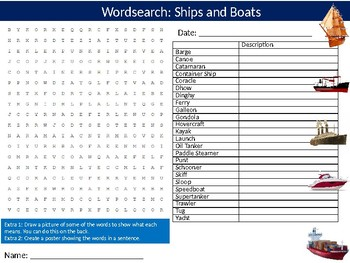 Ships and Boats Wordsearch Puzzle Sheet Keywords The Sea Water Transport