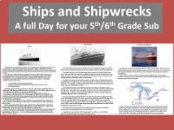 Ships and Shipwrecks - A Full Day for your 5th/6th Grade Sub