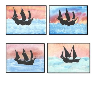 Ships on Water Watercolor
