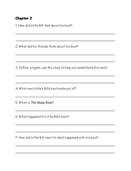 Shipwreck Saturday - Little Bill Comprehension Packet