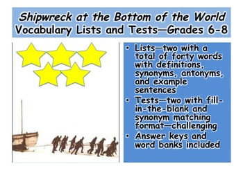 Shipwreck at the Bottom of the World Vocabulary Lists and Assessments—Grades 6-8