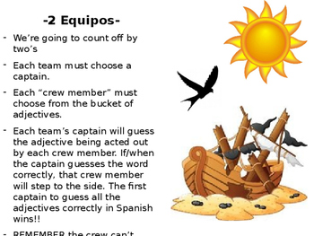 Shipwrecked- Spanish Adjective Game
