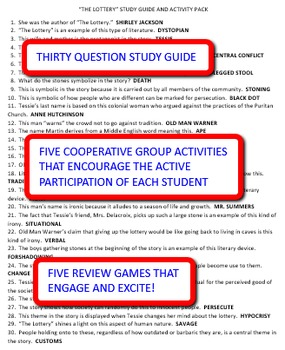 """Shirley Jackson's """"The Lottery"""": Study Guide and Activity Pack"""