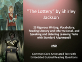 """Shirley Jackson's """"The Lottery""""–25 Rigorous Tasks AND Guided Reading Questions"""