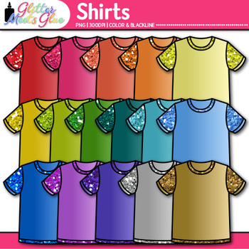 Rainbow Shirt Clip Art {Glitter T-Shirts, Clothing for Dig