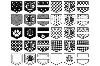 Shirt Pocket Monogram SVG, Pocket Patterns SVG files.