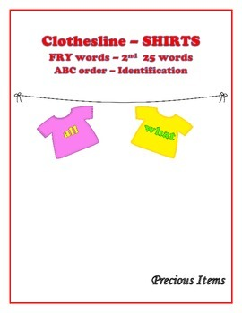 "Shirts on Clothesline ""FRY"" Sight Words - 2nd 25"