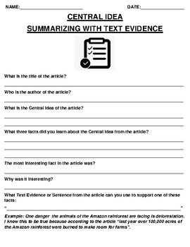 Shiva Central Idea & Text Evidence Summary Assignment