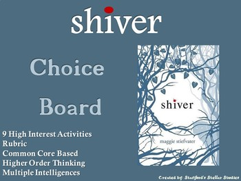 Shiver Choice Board Novel Study Activities Menu Book Project Rubric