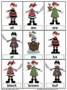 Shiver Me Timbers Pirate Dolch Primer Sight Words Game
