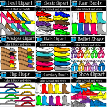 Shoe Clipart: Wedges, heels, flats, boots, cleats, and more!