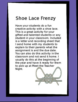 Shoe Lace Frenzy Creative Activity