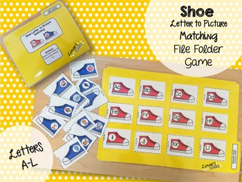 Shoe Letter to Initial Sound File Folder Game A-L