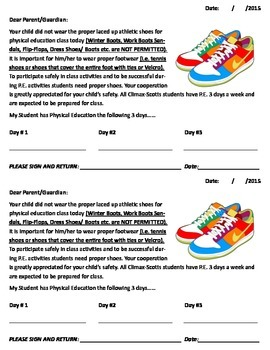 Shoe Slips (When Students Forget Their Shoes)