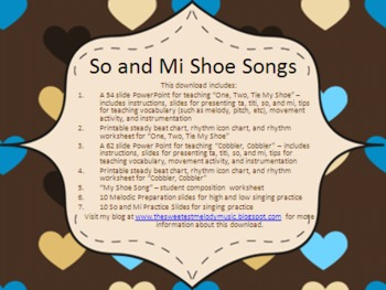 Shoe Songs - lessons and activities for ta/titi and so/mi