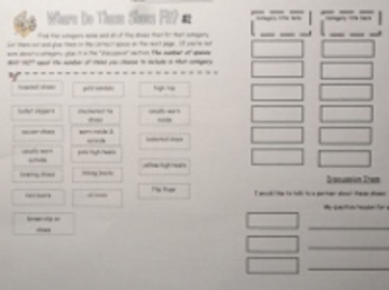 Shoe Theme Vocabulary Building, Comprehension Strategies, & Critical Thinking