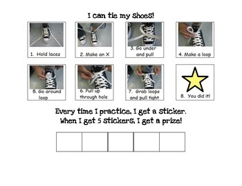 Shoe Tying Visual Instructions and Reward Chart