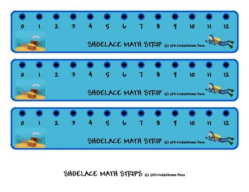 Shoelace Number Line Math Strips - Addition, Subtraction, Counting, Number Sense