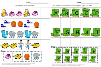Shoes Math Literacy Cut and Past Fine Motor Special Education Early Childhood