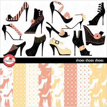 Shoes Shoes Shoes Clipart and Digital Paper by Poppydreamz