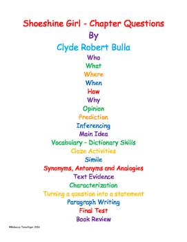 Shoeshine Girl Literature Unit - Grades 3 - 5