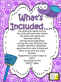 Shoo Fly Alphabet SWAT ~ Capital letters and lowercase letters