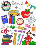 Shool Days Clipart - 42 illustrations color/bw bundle {KT