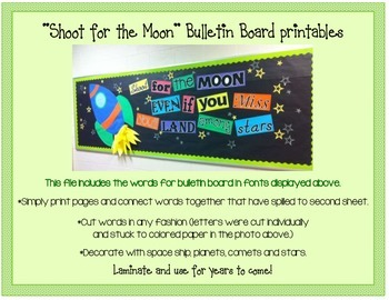 """Shoot for the Moon"" Bulletin Board Printables"