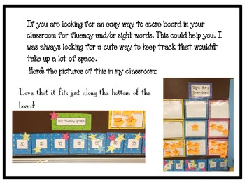 Shoot for the Stars fluency and sightword scoreboard