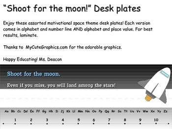Shoot for the moon! Desk plates
