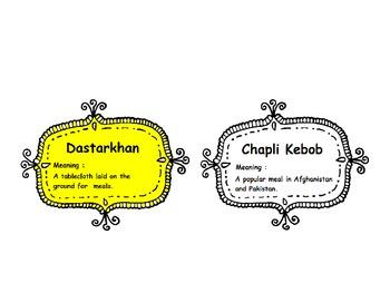 Shooting Kabul : Vocabulary Cards
