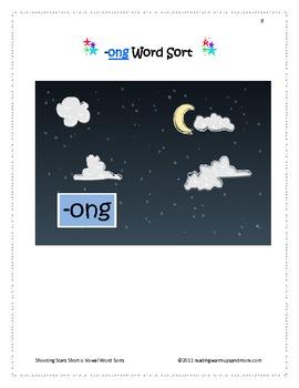 Shooting Stars Short Vowel o Word Sorts -ong,-op,-oss,-ot,-oth,-ought
