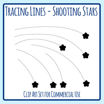 Shooting Stars Tracing Lines Pencil Control Practice Clip Art Set Commercial Use