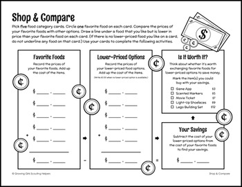 """Shop & Compare - Girl Scout Juniors - """"Savvy Shopper"""" Activity Pack (Step 4)"""