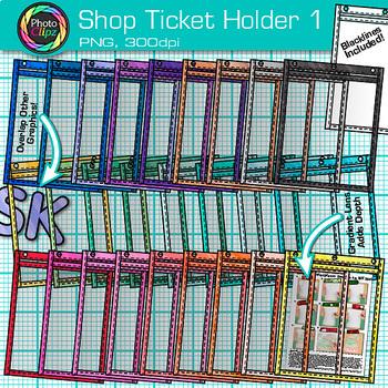 Shop Ticket Holder Clip Art Bundle | Rainbow Job Ticket Sleeves for Teachers