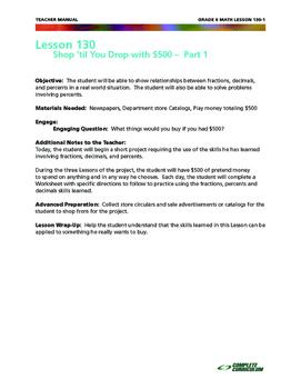 Shop 'Til You Drop:  Fractions, Decimals and Percents - Sixth Grade Math Mini
