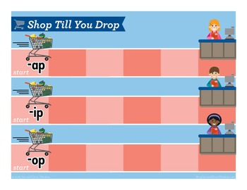 Shop Till You Drop Mixed Vowel Word Families Phonics Game - Words Their Way Game