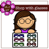 Shop With Glasses Digital Clipart (color and black&white)
