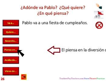 Shop in Mexico-use va/viene/acaba de/piensa en/quiere in 4 contexts! (complete)