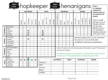Shopkeeper Shenanigans- Tiendas Logic Puzzle