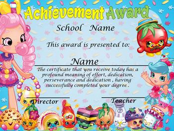 Shopkins Achievement Award English & Spanish version Editable!!!
