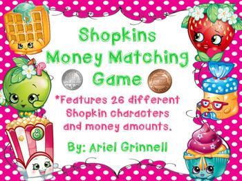 Shopkins Character Money Matching Game