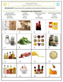 Shopping & Dining (A): Ingredients and Condiments Vocabulary  (Adult ESL)