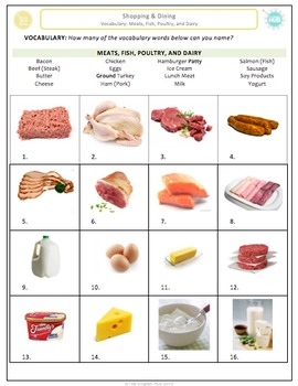 Shopping & Dining (A): Meats, fish, poultry & dairy vocabu
