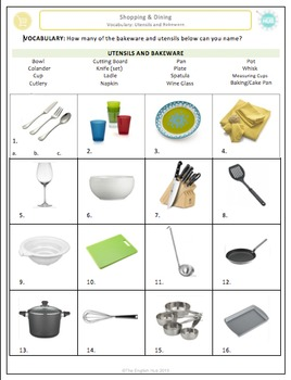 Shopping & Dining (A): Utensils and Bakeware Vocabulary  (Adult ESL)