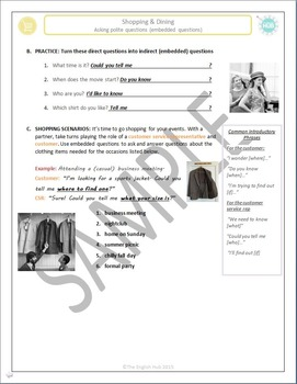 Shopping B: Asking (Embedded) Questions in Shopping Situations (Noun Clauses)