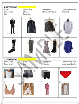 Shopping B: Clothing and Shopping Departments vocabulary