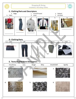 Shopping B: Describing clothing with patterns, fabrics, and textures
